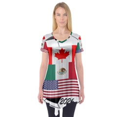 United Football Championship Hosting 2026 Soccer Ball Logo Canada Mexico Usa Short Sleeve Tunic