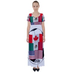United Football Championship Hosting 2026 Soccer Ball Logo Canada Mexico Usa High Waist Short Sleeve Maxi Dress