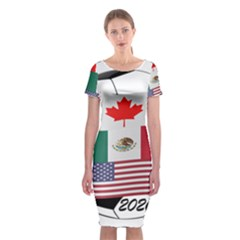 United Football Championship Hosting 2026 Soccer Ball Logo Canada Mexico Usa Classic Short Sleeve Midi Dress