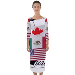 United Football Championship Hosting 2026 Soccer Ball Logo Canada Mexico Usa Quarter Sleeve Midi Bodycon Dress