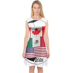 United Football Championship Hosting 2026 Soccer Ball Logo Canada Mexico Usa Capsleeve Midi Dress