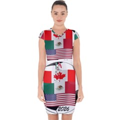 United Football Championship Hosting 2026 Soccer Ball Logo Canada Mexico Usa Capsleeve Drawstring Dress