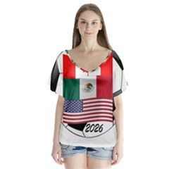 United Football Championship Hosting 2026 Soccer Ball Logo Canada Mexico Usa V Neck Flutter Sleeve Top
