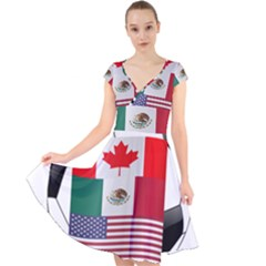 United Football Championship Hosting 2026 Soccer Ball Logo Canada Mexico Usa Cap Sleeve Front Wrap Midi Dress