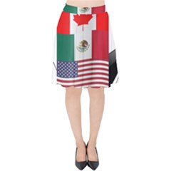 United Football Championship Hosting 2026 Soccer Ball Logo Canada Mexico Usa Velvet High Waist Skirt