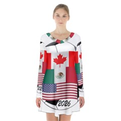 United Football Championship Hosting 2026 Soccer Ball Logo Canada Mexico Usa Long Sleeve Velvet V Neck Dress