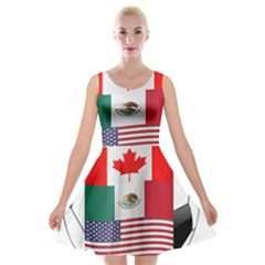 United Football Championship Hosting 2026 Soccer Ball Logo Canada Mexico Usa Velvet Skater Dress
