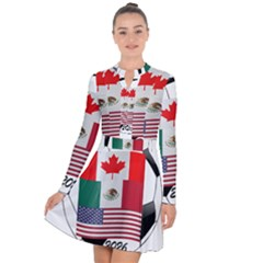United Football Championship Hosting 2026 Soccer Ball Logo Canada Mexico Usa Long Sleeve Panel Dress