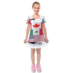 United Football Championship Hosting 2026 Soccer Ball Logo Canada Mexico Usa Kids  Short Sleeve Velvet Dress