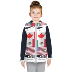 United Football Championship Hosting 2026 Soccer Ball Logo Canada Mexico Usa Kid s Hooded Puffer Vest