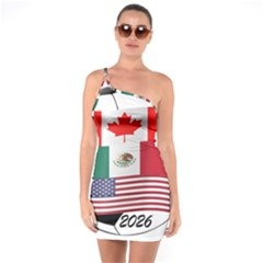 United Football Championship Hosting 2026 Soccer Ball Logo Canada Mexico Usa One Soulder Bodycon Dress