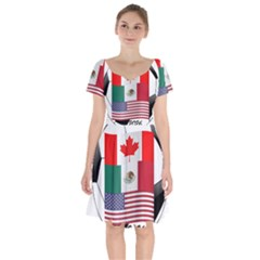 United Football Championship Hosting 2026 Soccer Ball Logo Canada Mexico Usa Short Sleeve Bardot Dress