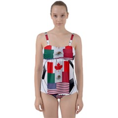 United Football Championship Hosting 2026 Soccer Ball Logo Canada Mexico Usa Twist Front Tankini Set