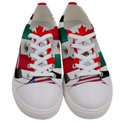 United Football Championship Hosting 2026 Soccer Ball Logo Canada Mexico Usa Women s Low Top Canvas Sneakers
