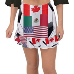 United Football Championship Hosting 2026 Soccer Ball Logo Canada Mexico Usa Fishtail Mini Chiffon Skirt