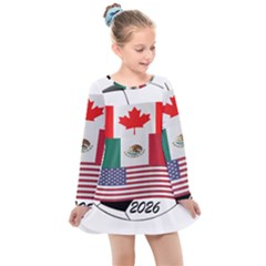 United Football Championship Hosting 2026 Soccer Ball Logo Canada Mexico Usa Kids  Long Sleeve Dress