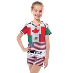 United Football Championship Hosting 2026 Soccer Ball Logo Canada Mexico Usa Kids  Mesh Tee And Shorts Set
