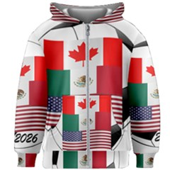 United Football Championship Hosting 2026 Soccer Ball Logo Canada Mexico Usa Kids Zipper Hoodie Without Drawstring
