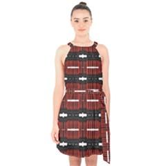 A Unique Red And Black Design Pattern By Kiekie Strickland Halter Collar Waist Tie Chiffon Dress