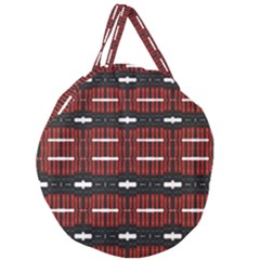 A Unique Red And Black Design Pattern By Kiekie Strickland Giant Round Zipper Tote