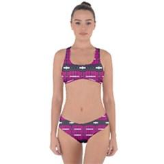 A Unique Pink Design Pattern Created By Flipstylez Design Criss Cross Bikini Set