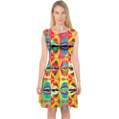Colorful Shapes                                          Capsleeve Midi Dress