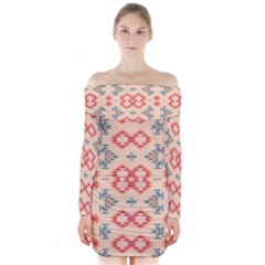 Tribal Shapes                                         Long Sleeve Off Shoulder Dress