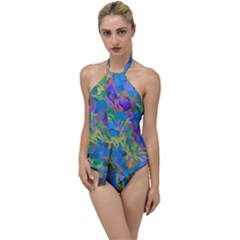Paint Brushes On A Blue Background                                       Go With The Flow One Piece Swimsuit