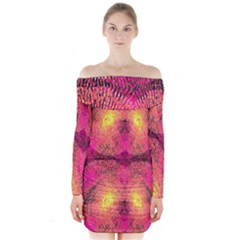 New Wild Color Blast Purple And Pink Explosion Created By Flipstylez Designs Long Sleeve Off Shoulder Dress