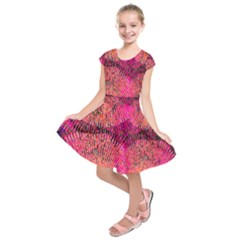 New Wild Color Blast Purple And Pink Explosion Created By Flipstylez Designs Kids  Short Sleeve Dress