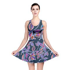 New Beautiful Purple Pink Green Mosaic Flowers Created By Flipstyle Designs Reversible Skater Dress