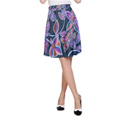 New Beautiful Purple Pink Green Mosaic Flowers Created By Flipstyle Designs A Line Skirt