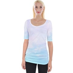 Pastel Pink And Blue Ombre Wide Neckline Tee