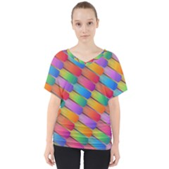 Colorful Textured Shapes Pattern                                     V Neck Dolman Drape Top by LalyLauraFLM