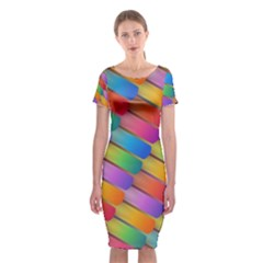 Colorful Textured Shapes Pattern                                Classic Short Sleeve Midi Dress
