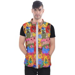 Coloful Strokes Canvas                                    Men s Puffer Vest