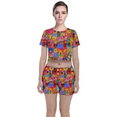 Coloful Strokes Canvas                              Crop Top And Shorts Co Ord Set