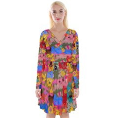 Coloful Strokes Canvas                                       Long Sleeve Front Wrap Dress