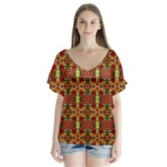 F 4 V Neck Flutter Sleeve Top