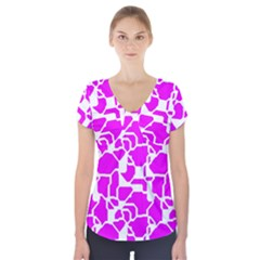 Series In Pink B Short Sleeve Front Detail Top