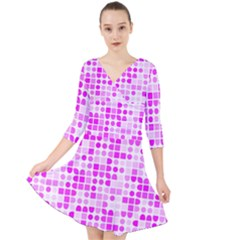 Series In Pink C Quarter Sleeve Front Wrap Dress