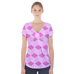 Series In Pink F Short Sleeve Front Detail Top