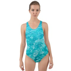 Ocean Blue Waves  Cut Out Back One Piece Swimsuit