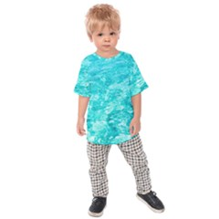 Ocean Blue Waves  Kids Raglan Tee