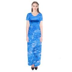 Ocean Blue Waves Abstract Cobalt Short Sleeve Maxi Dress