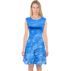 Ocean Blue Waves Abstract Cobalt Capsleeve Midi Dress