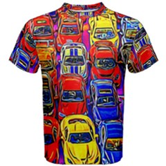 Colorful Toy Racing Cars Men s Cotton Tee