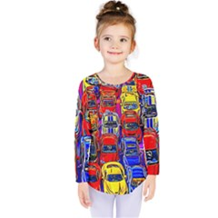 Colorful Toy Racing Cars Kids  Long Sleeve Tee