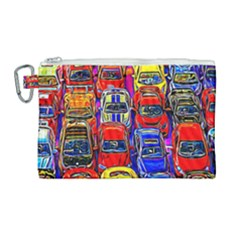 Colorful Toy Racing Cars Canvas Cosmetic Bag (large) by FunnyCow