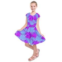 Palm Trees Caribbean Evening Kids  Short Sleeve Dress